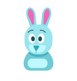 blue hare with funny face isolated vector image vector image