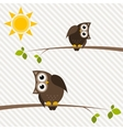 brown owl and owlet on the tree vector image vector image