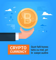 business man hand holding bitcoin crypto currency vector image