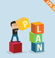 Cartoon Businessman stacking goal box - - EP vector image