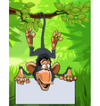 cartoon monkey hanging on a branch with a blank vector image vector image