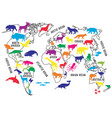 cartoon world map with animals silhouettes for vector image vector image