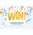 celebration of win on falling down confetti vector image vector image