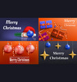 christmas banner set realistic style vector image