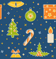 christmas seamless pattern with holiday symbols vector image vector image