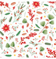 christmas seamless pattern with holly leaves vector image