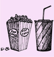cinema popcorn soda vector image