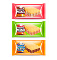 creamy wafer packaging 3d realistic set vector image vector image