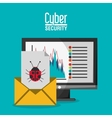 Cyber security with computer design vector image vector image