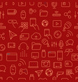 different tech icons seamless background vector image vector image