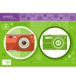 Digital camera in frame on green background vector image vector image