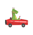 dragon driving red car funny adorable animal vector image vector image