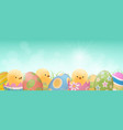 easter eggs and chicks banner vector image vector image