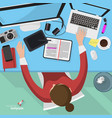 Flat design office workspace template vector image vector image