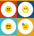 flat icon face set of cross-eyed face asleep vector image vector image