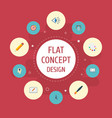 flat icons arrow writing brush and other vector image vector image