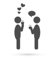 Flat people coffee romance icon isolated on white vector image vector image