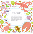 fresh seafood flat design with copy space vector image vector image