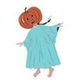 halloween little girl in ghost costume vector image vector image