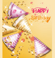 happy birthday card with party hats vector image