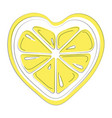 logo of lemon in the form of heart stylized slice vector image vector image