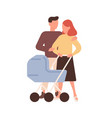 lovely family with bain stroller walking vector image