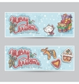 Merry Christmas greeting card horizontal banners vector image vector image