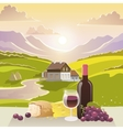 Mountain Landscape With Wine And Cheese vector image vector image