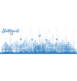 outline stuttgart germany city skyline with blue vector image vector image
