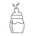 quirky line drawing cartoon baby milk bottle