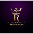 royal letter r luxury crown tiara logo concept vector image vector image