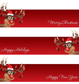 rudolph reindeer christmas and new year banner vector image vector image