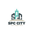 s p c real estate logo designs simple modern vector image