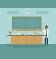 science teacher teaching student in classroom vector image