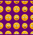 seamless pattern with cartoon cute smiley face vector image