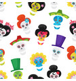 Seamless pattern with colorful skulls for day of
