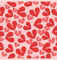 seamless texture with broken hearts red pink vector image