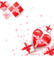 set gifts in square and hearts shaped boxes vector image
