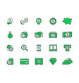 set of bank and money colored line icons vector image