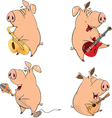 Set of cheerful pigs Cartoon vector image vector image