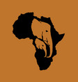 silhouette of black africa with two elephant vector image vector image
