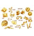 sketch icons of italian pasta sorts variety vector image vector image