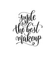 smile is best makeup - hand lettering vector image vector image