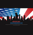 statue liberty silhouette over united states vector image