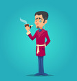 stylish handsome man with beard and pipe dandy vector image vector image