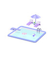 swimming pool and pool chair set on white vector image vector image