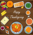 thanksgiving greeting card with menu foods wood ba vector image vector image