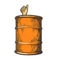 thumb up in barrel color sketch vector image vector image