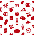 tomatoes theme simple icons red seamless pattern vector image vector image
