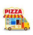 truck street pizza to customer delivering free vector image